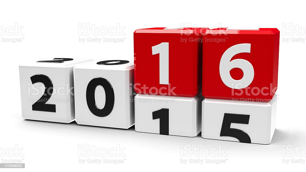 White and red cubes show the year change from 2015 to 2016 stock photo