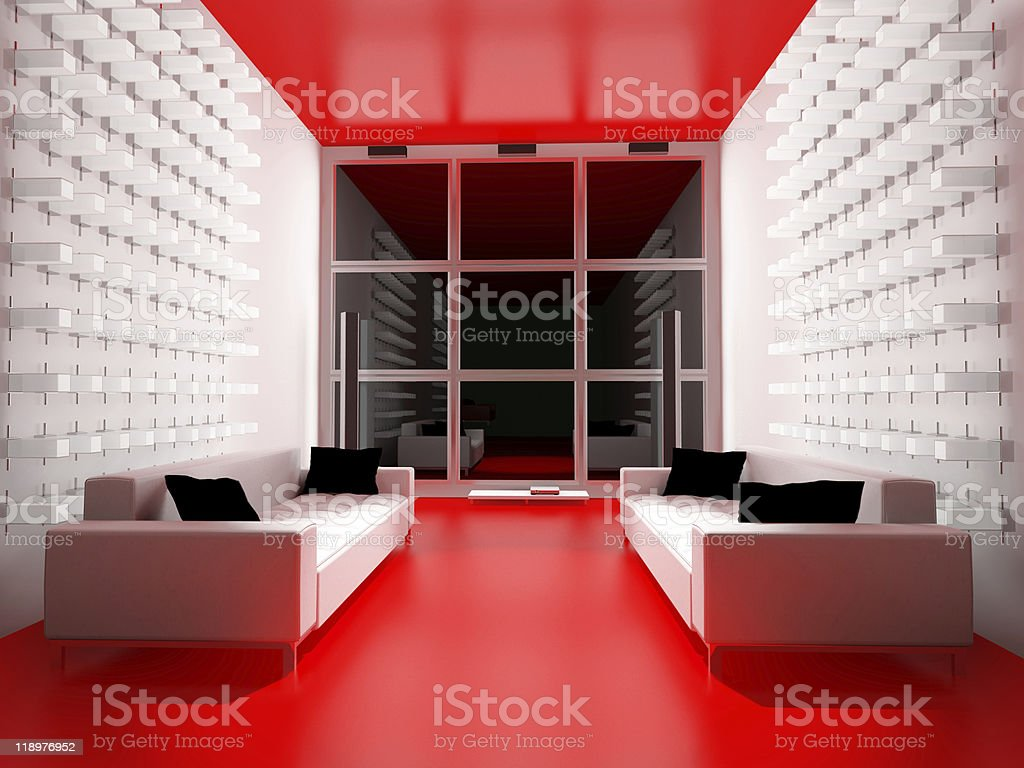 white and red  drawing room royalty-free stock photo