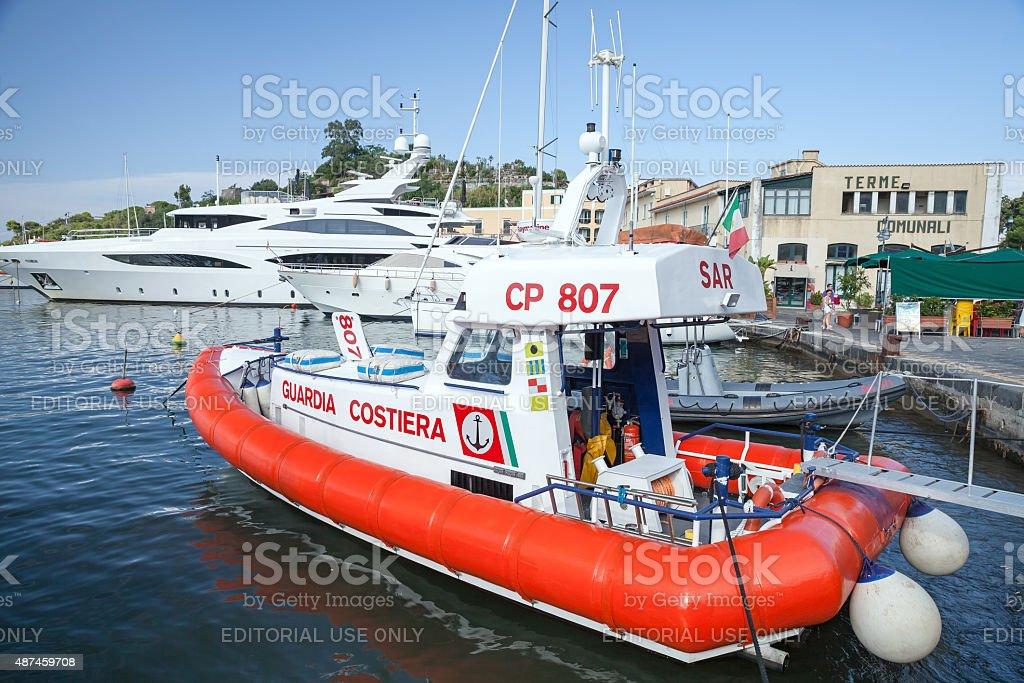White and red Italian Coast guard boat stock photo