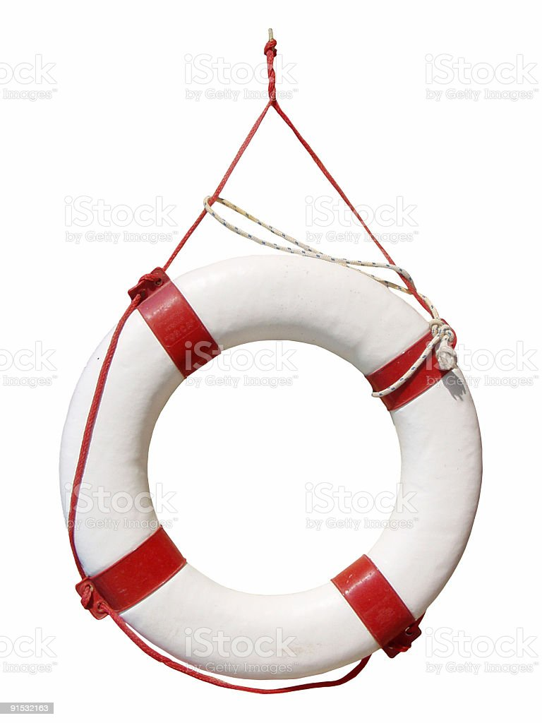 White and red life buoy hanging up royalty-free stock photo