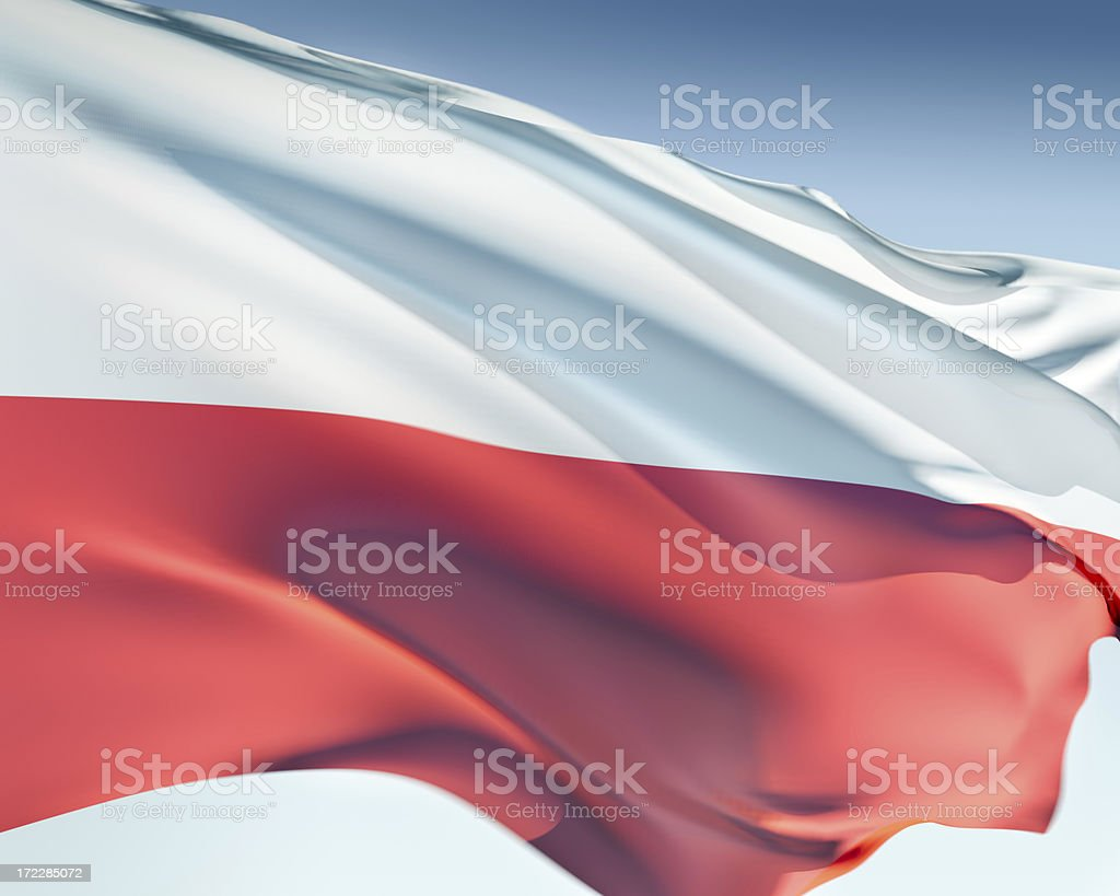 White and red the flag of Poland  stock photo