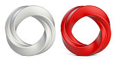 White and red twisted rings Isolated on white background