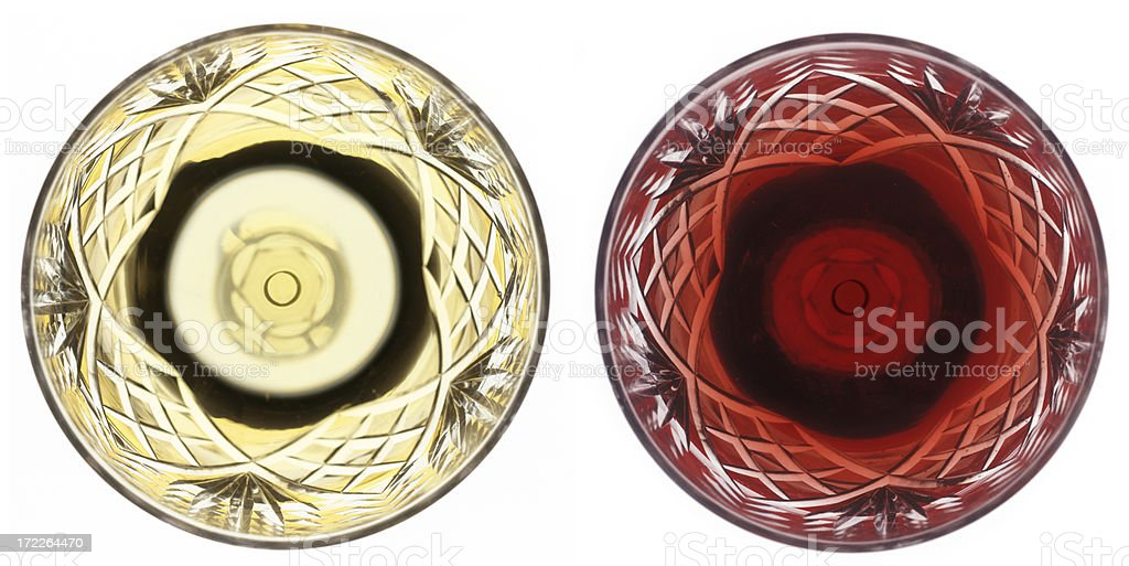 white and red wine glass from above royalty-free stock photo
