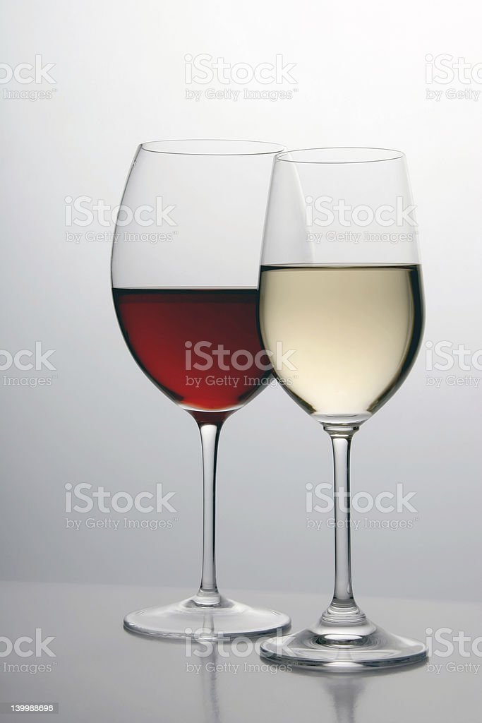 White and red wine in separate glasses royalty-free stock photo