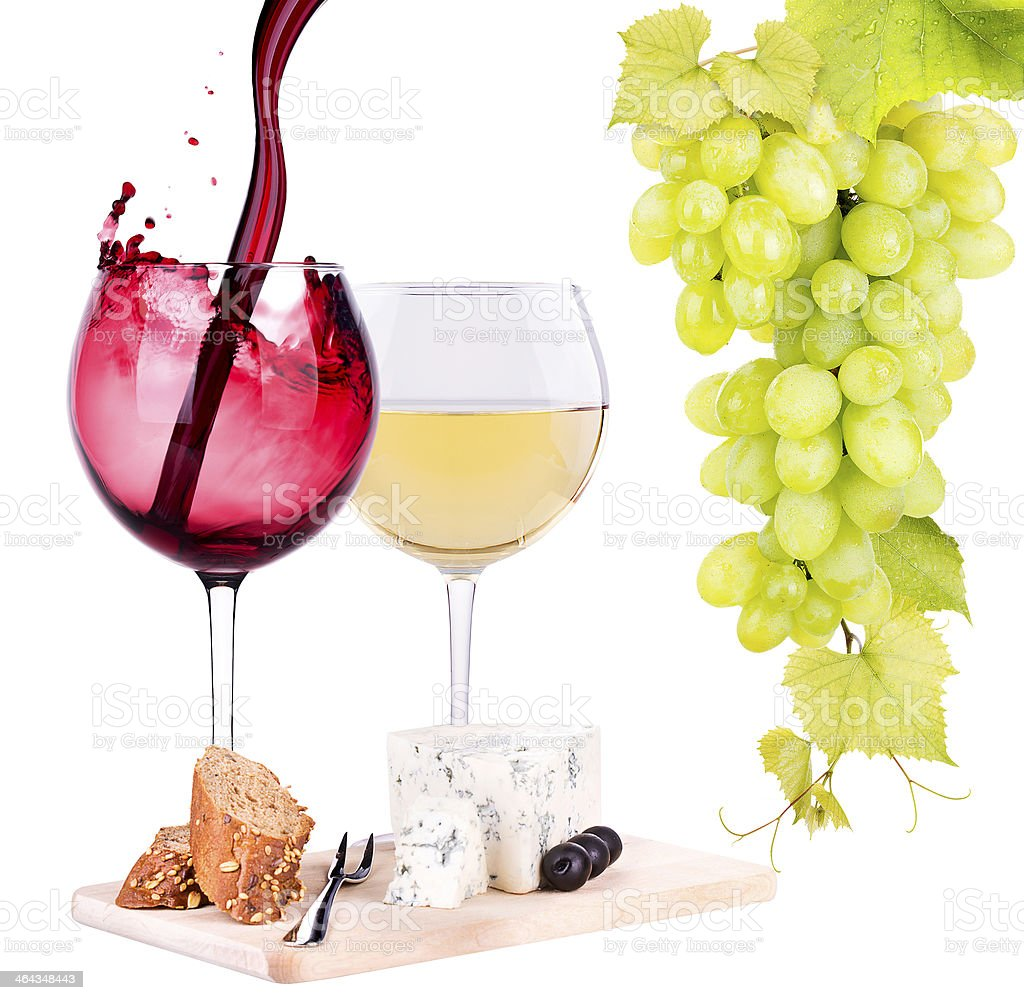 white and red wine  with cheese royalty-free stock photo