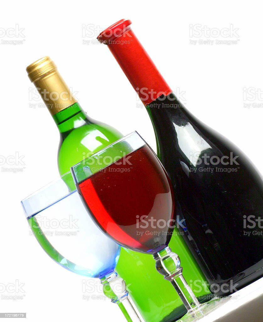 White and red wine with glasses royalty-free stock photo