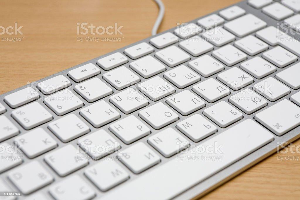 White and silver thin aluminium keyboard stock photo