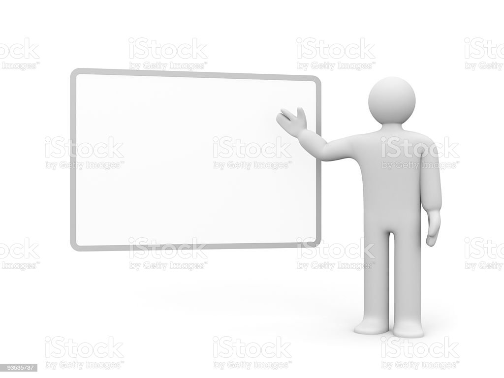 White animated person pointing to a blank billboard royalty-free stock photo