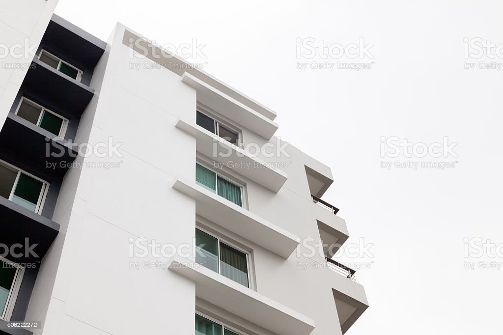 White apartment houses with white background stock photo