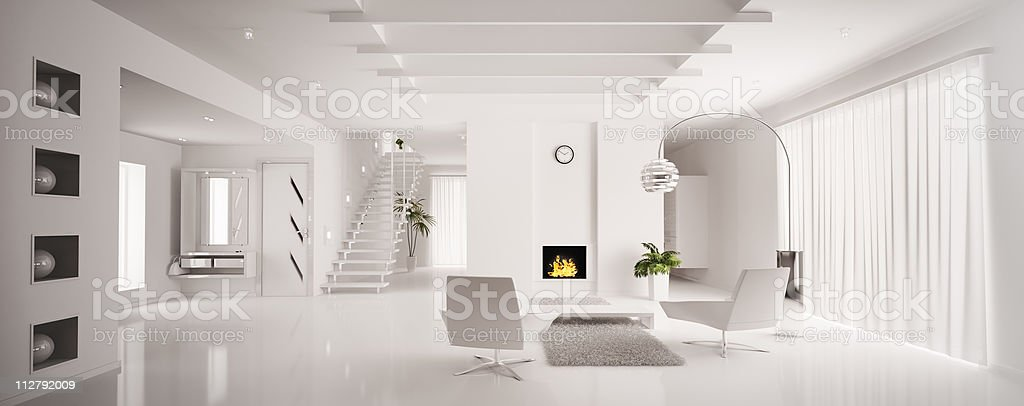 White apartment interior in panoramic 3D render stock photo