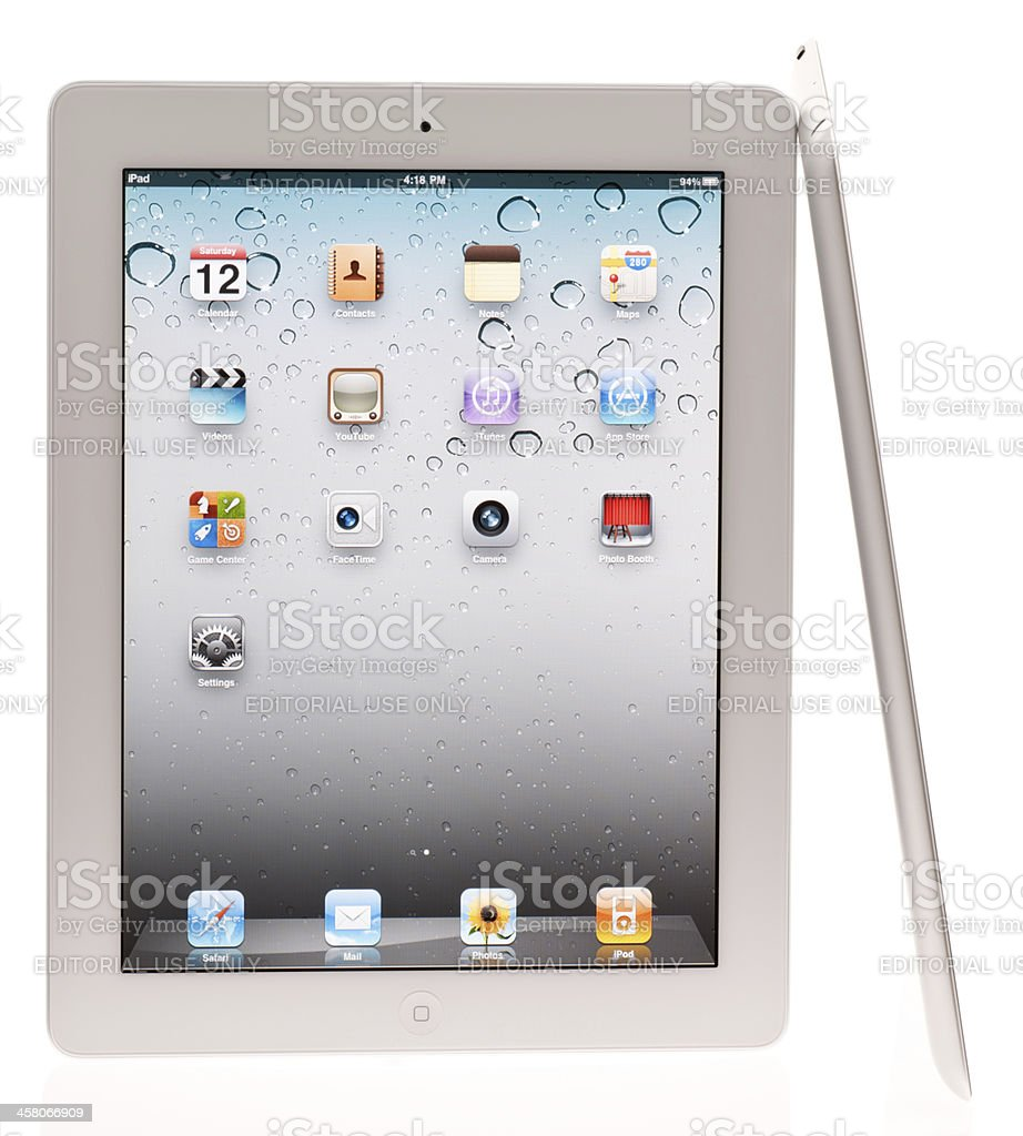 White Apple iPad 2, Front and Side View stock photo