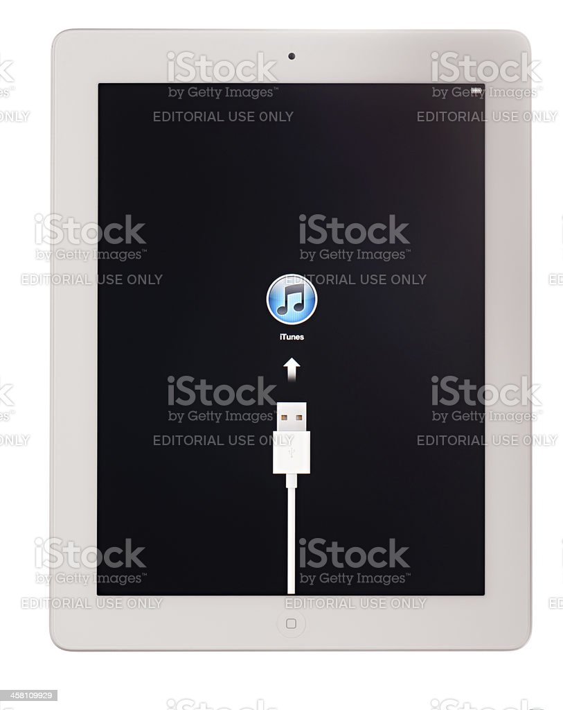 White Apple iPad 2, Starting for the First Time (Isolated) stock photo