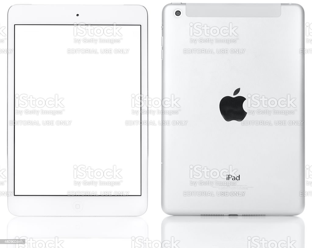 White Apple iPad mini Front and Rear View stock photo