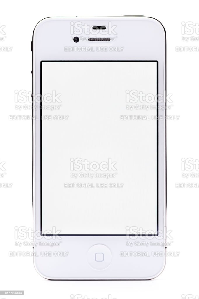 White Apple iPhone 4, isolated, clipping path royalty-free stock photo
