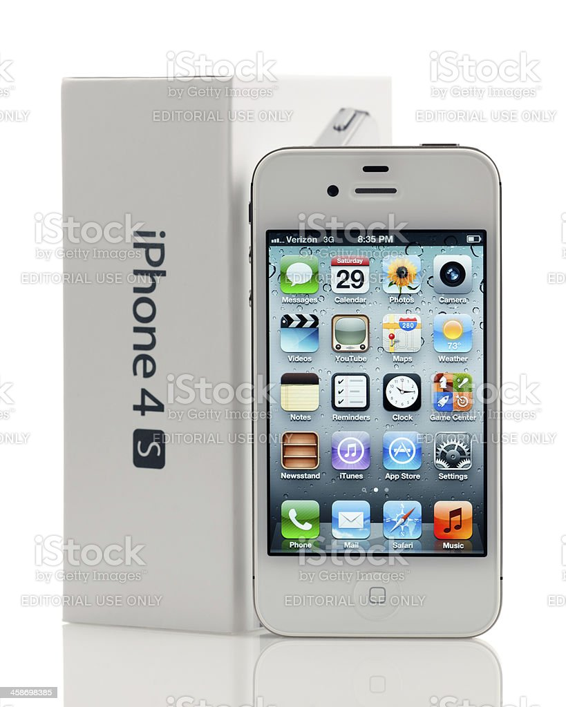 White Apple iPhone 4S with retail package royalty-free stock photo