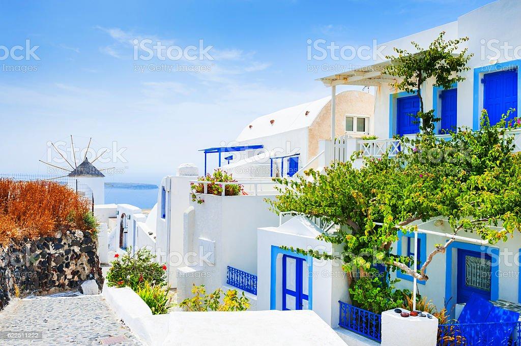 White architecture on Santorini island, Greece. stock photo
