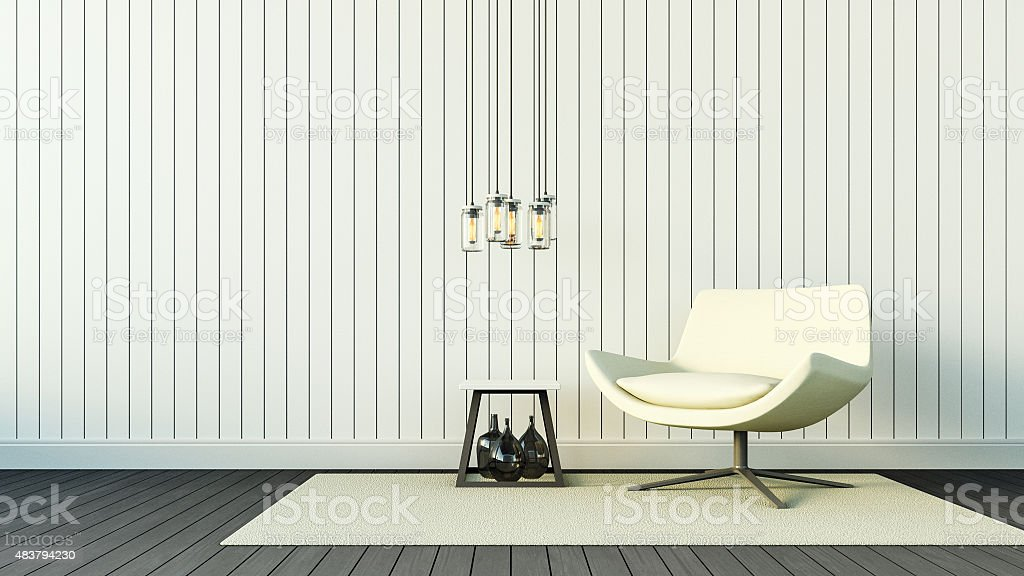 White Armchair and Simple Wall vector art illustration