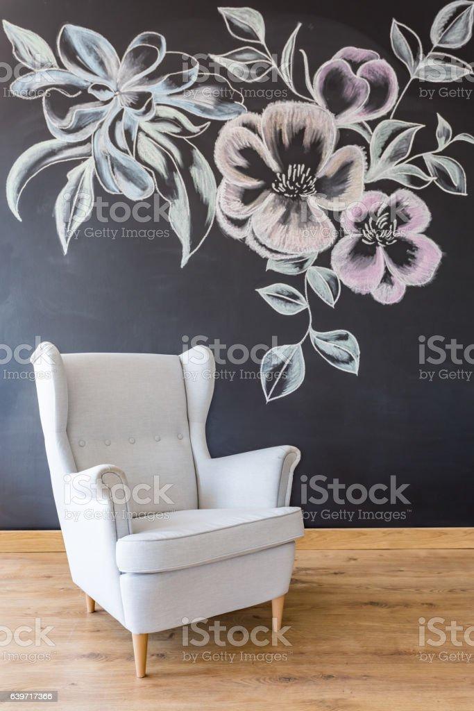 White armchair in studio stock photo