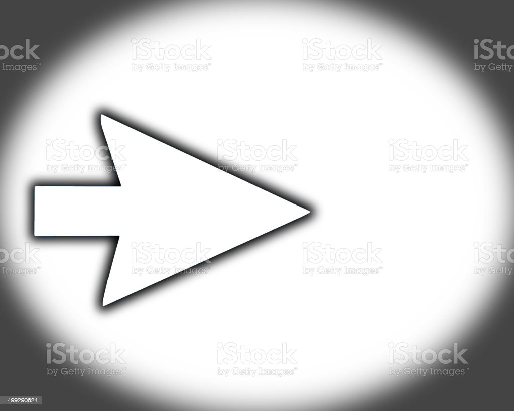 White arrow on white and vignetted stock photo