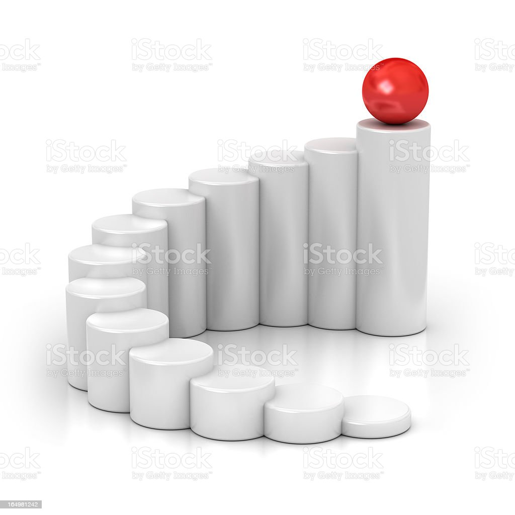 White ascending stumps with red ball on the tallest one royalty-free stock photo