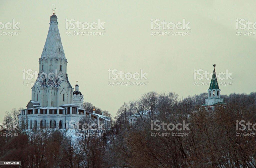 white Ascension church in former royal estate Kolomenskoye stock photo