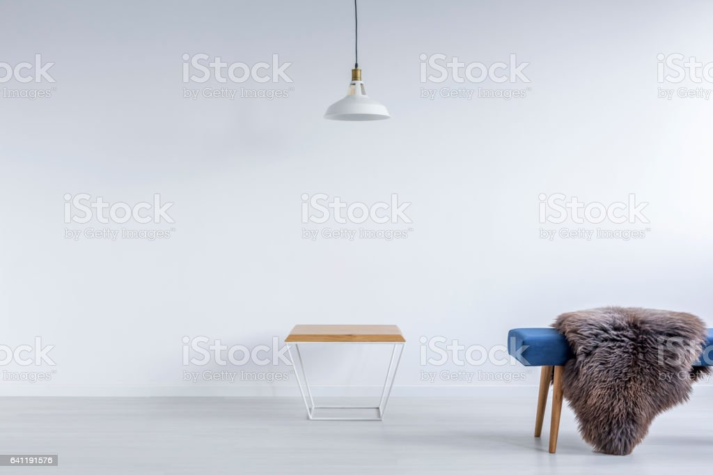 White ascetic room with bench stock photo