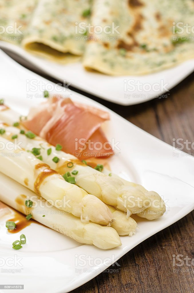 White asparagus with chives royalty-free stock photo