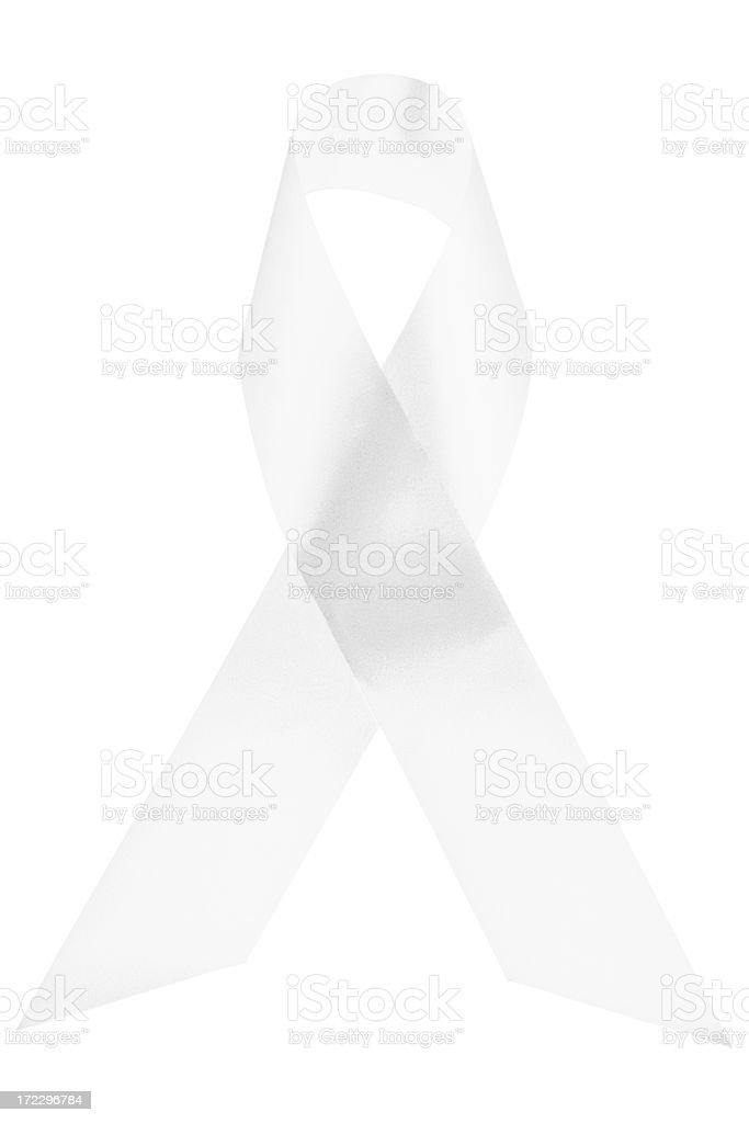 White awareness ribbon royalty-free stock photo
