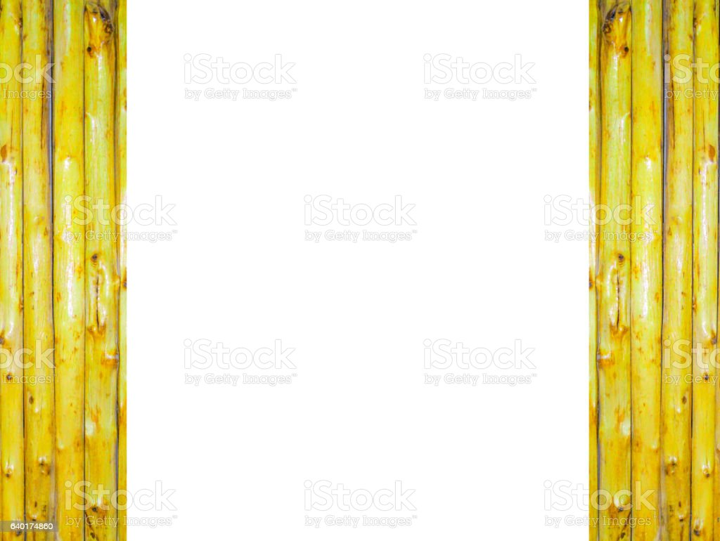 white background and beside bamboo vertical open the door stock photo