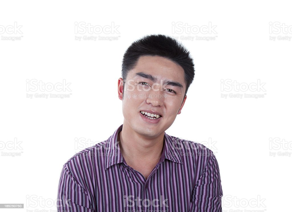 White background Happy Asian business man laughing stock photo