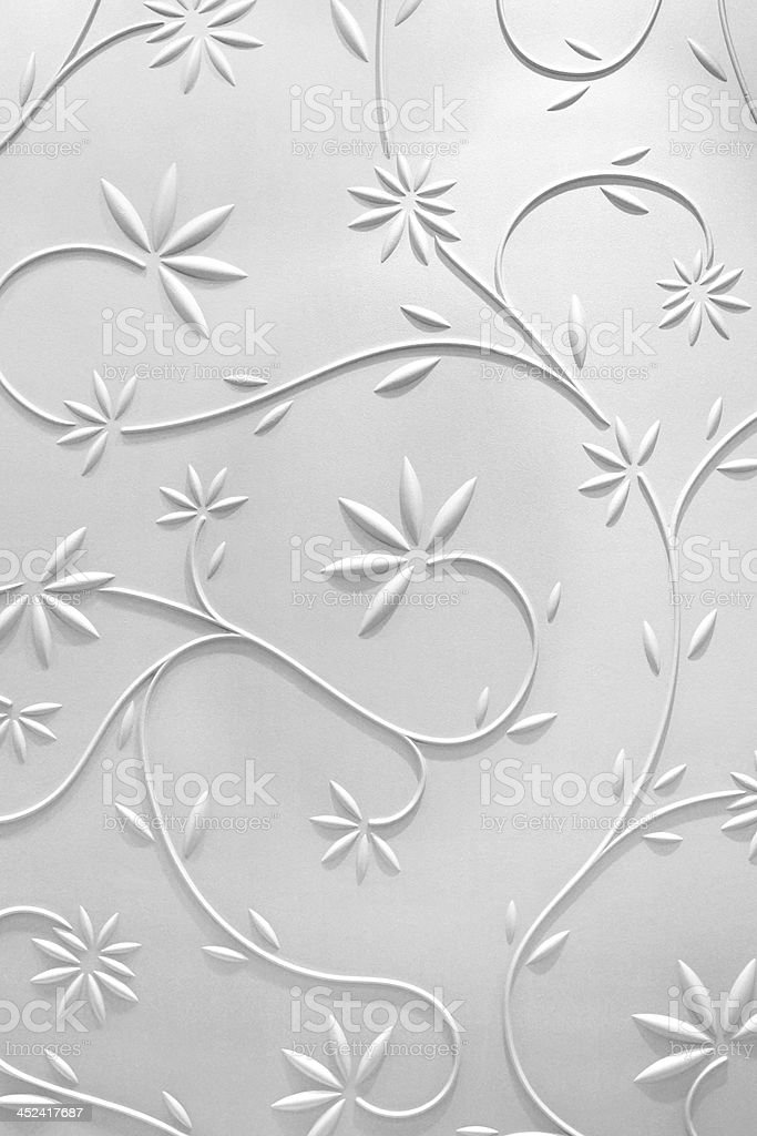 3D white background of flowers and vines stock photo