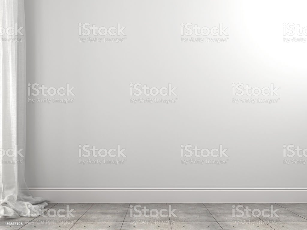 White background of the wall and curtains stock photo
