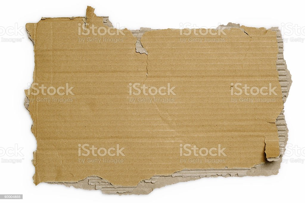 White background with a brown torn piece of cardboard stock photo