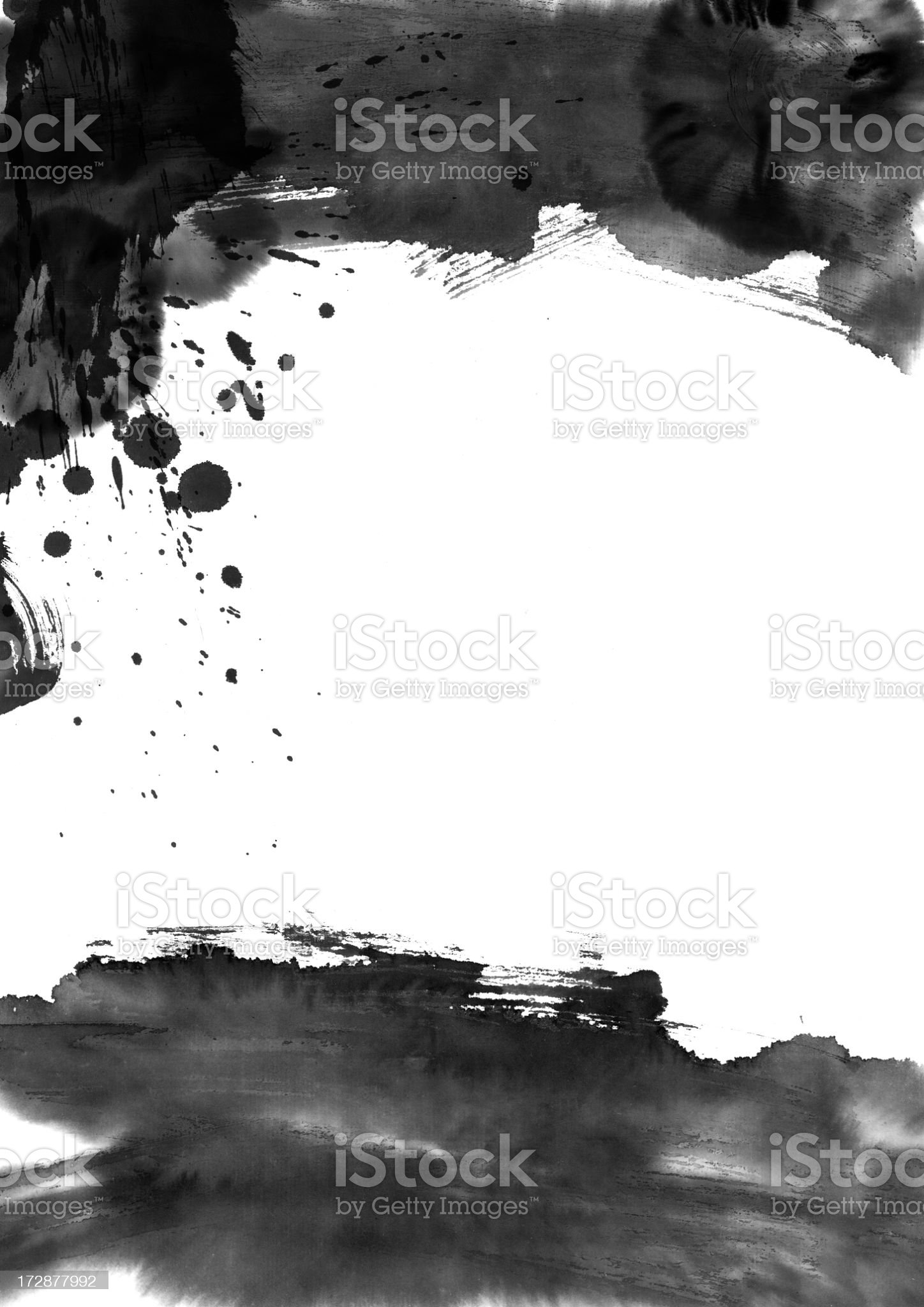 White background with black paint strokes royalty-free stock photo