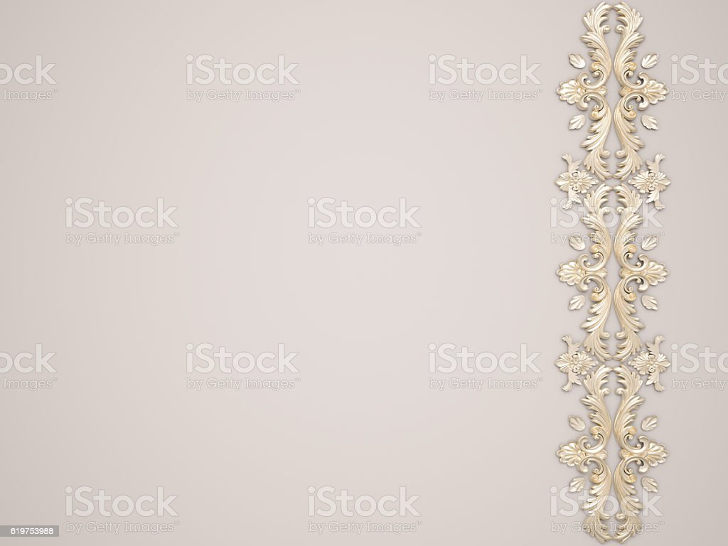 White background with gold ornament stock photo