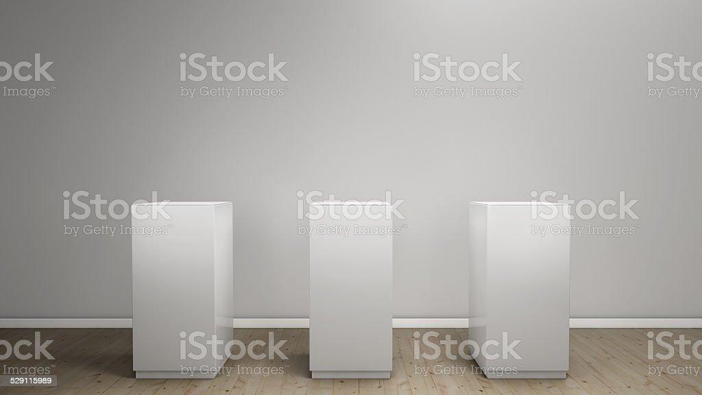 white background with pedestal stock photo