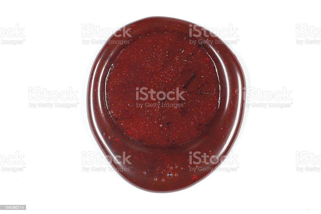 White background with red sealing wax stock photo