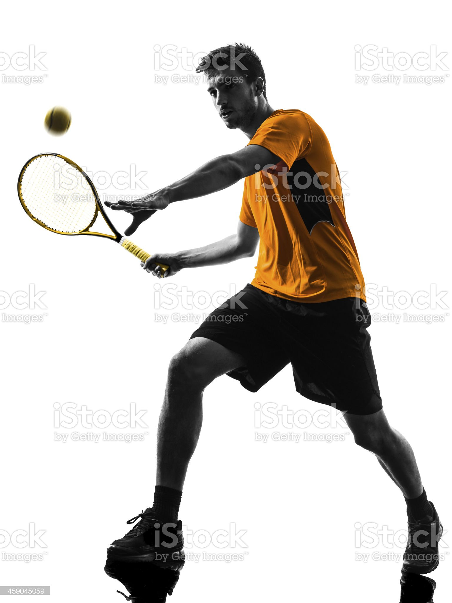 White background with silhouette of male tennis player royalty-free stock photo