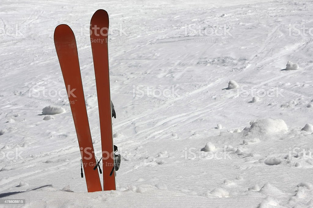 White background with skis royalty-free stock photo