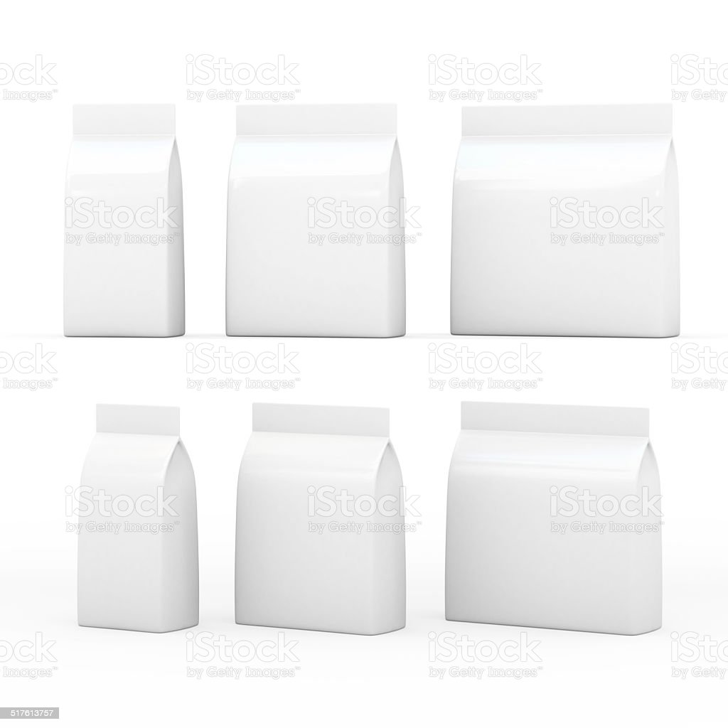 White bag packaging for general products with clipping path stock photo