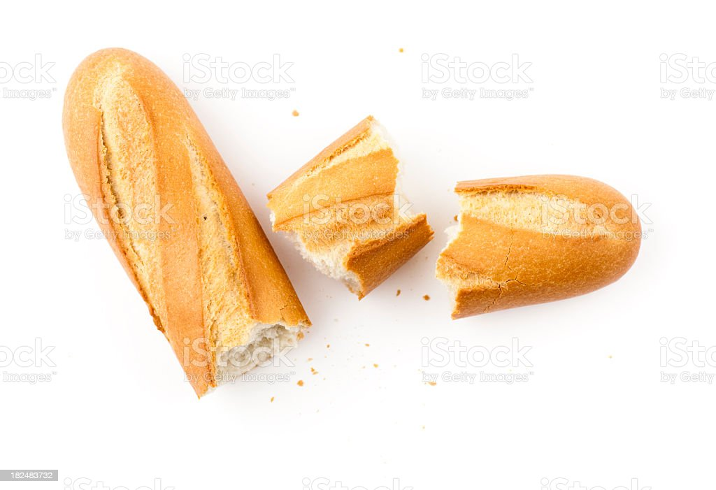 White baguette pieces on a white background stock photo