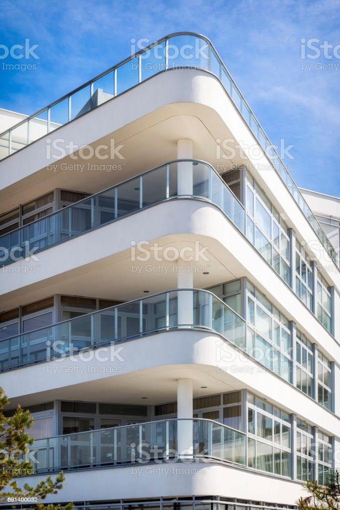 White balconies in new apartment building stock photo