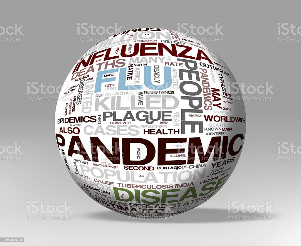 A white ball covered with words like influenza and pandemic stock photo
