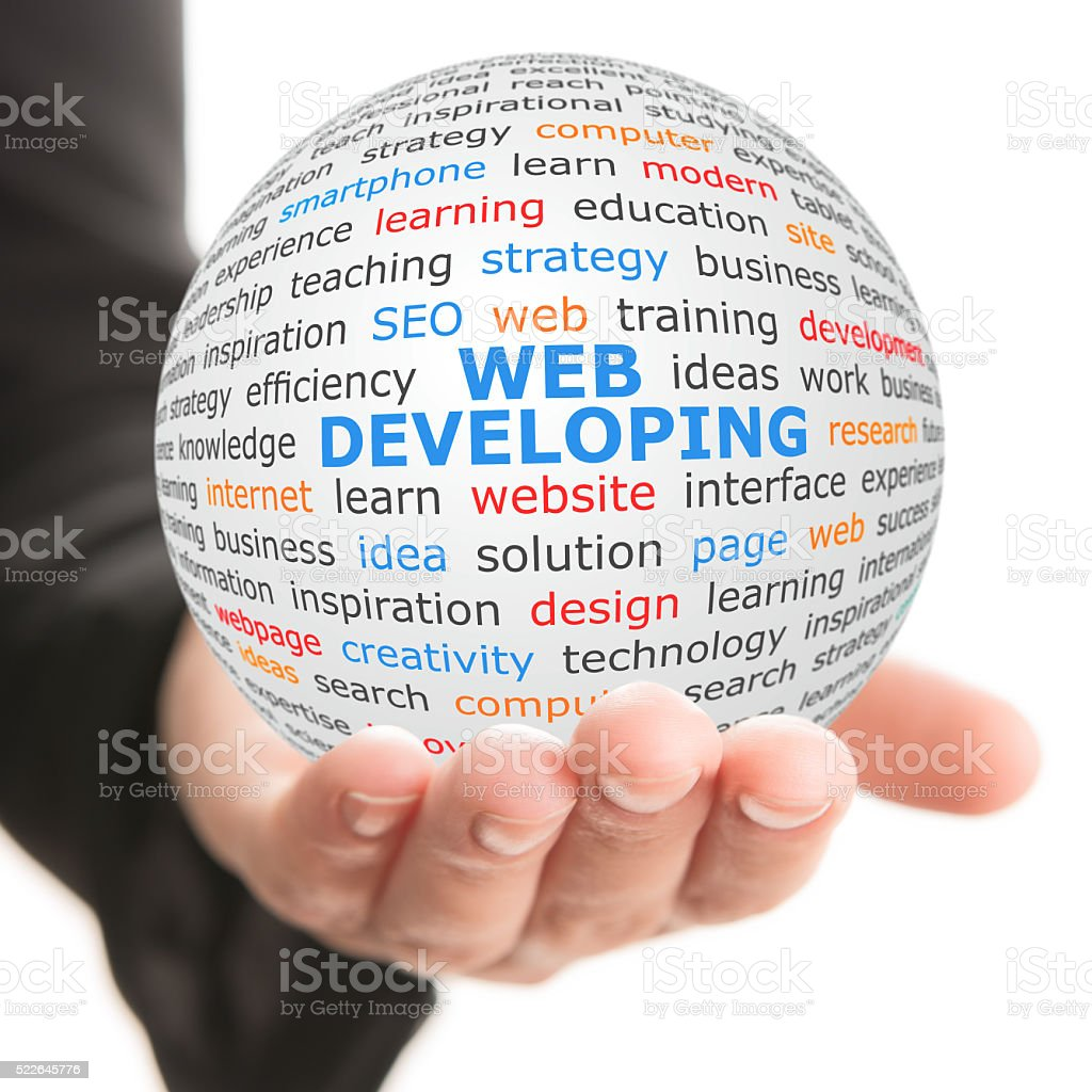white ball in hand with blue inscription Web developing stock photo