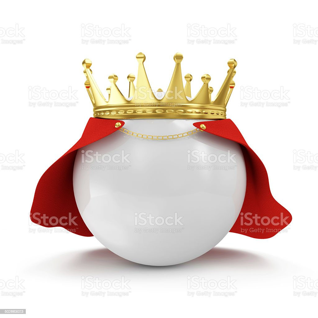 White Ball with Golden Crown and Raincoat royalty-free stock photo