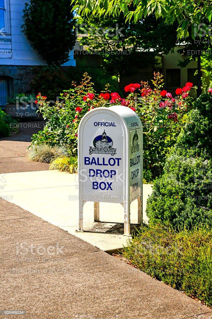 White ballot drop box in Corvalis OR stock photo