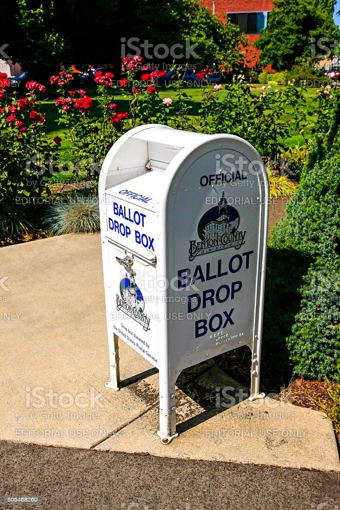 White ballot drop box in Corvalis, OR stock photo