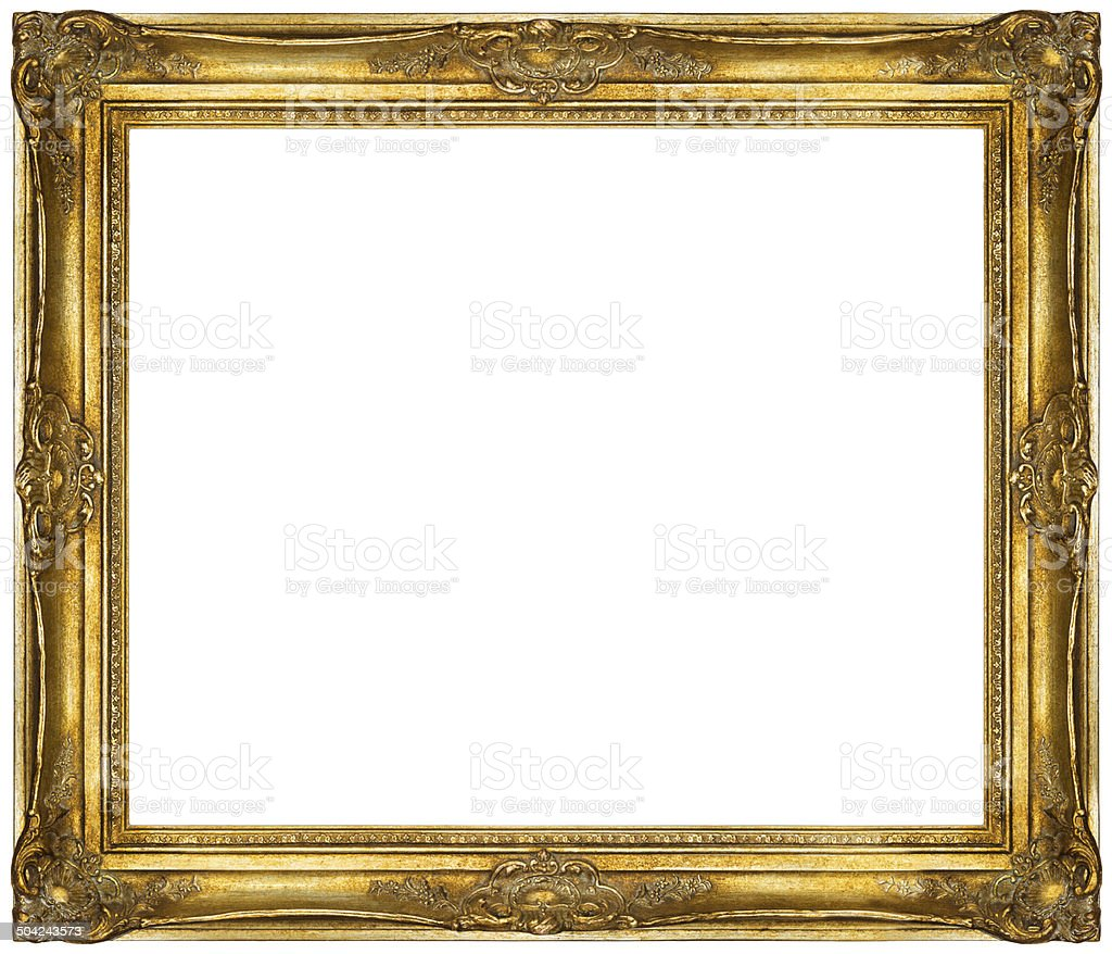 White baroque Frame isolated on white background. stock photo