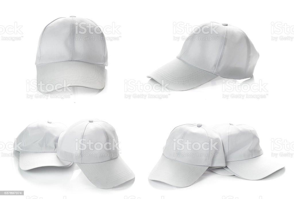 White baseball cap on white background stock photo