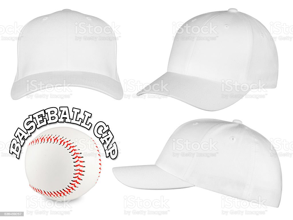 white baseball cap set stock photo